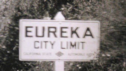 Leaving Eureka California Entering Oregon 1940 Footage