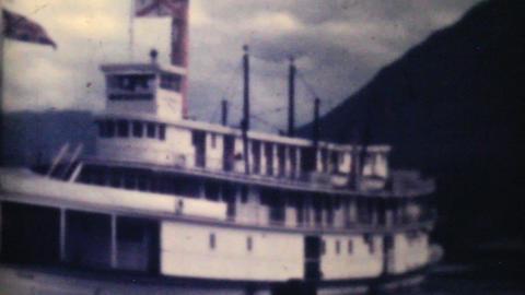 Old Paddlewheel Boat Ferry In Alaska 1940 Vintage Stock Video Footage