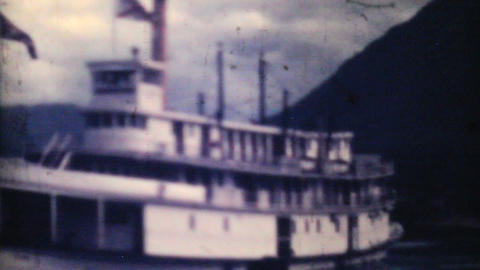 Old Paddlewheel Boat Ferry In Alaska 1940 Vintage Stock Video Footage