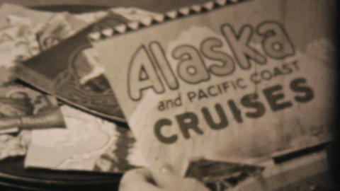 Packing Suitcase For Alaskan Cruise 1940 Vintage stock footage
