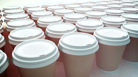 Paper coffee cups. Loopable Stock Video Footage