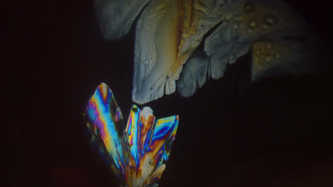 Crystals in Microscope 2 Stock Video Footage