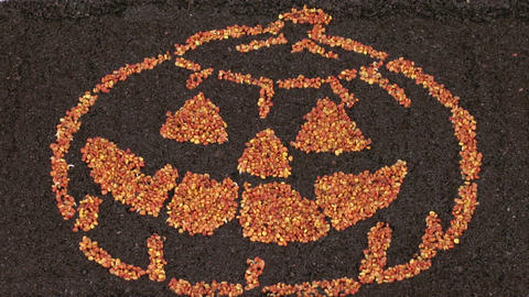 Time-lapse of growing Halloween symbol shape 2 Stock Video Footage
