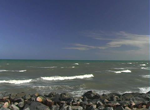Beach at Port Canaveral, Florida, with Rocks Stock Video Footage