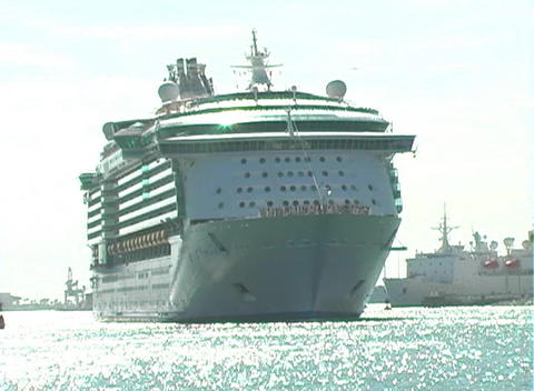 Cruise Ship Leaves Port (2) Stock Video Footage