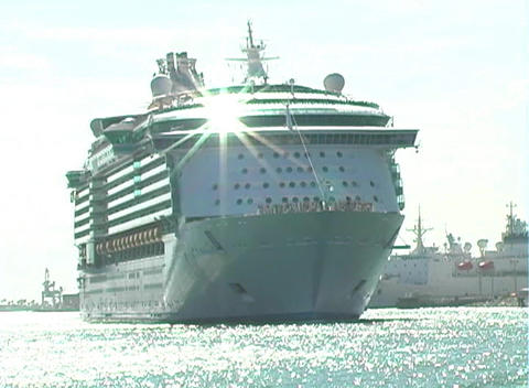 Cruise Ship Leaves Port (2) Footage