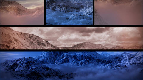 (1130) Snowy Mountains Sunset Composition Loop Stock Video Footage