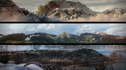 (1130) Snowy Mountains Sunset Composition Loop ビデオ