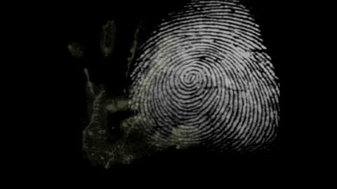 fingerprint and hand black background Stock Video Footage