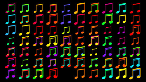 coloured musical notes Animation