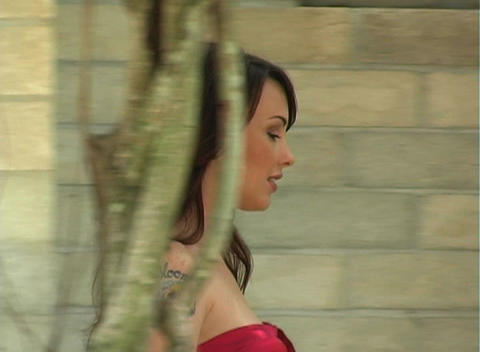 Beautiful, Sexy Brunette Walking Outdoors (3) Stock Video Footage
