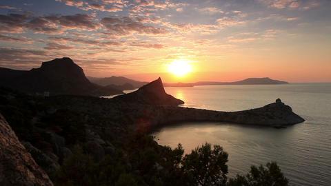 sunrise in the mountains. Noviy Svet, Crimea, Ukra Stock Video Footage
