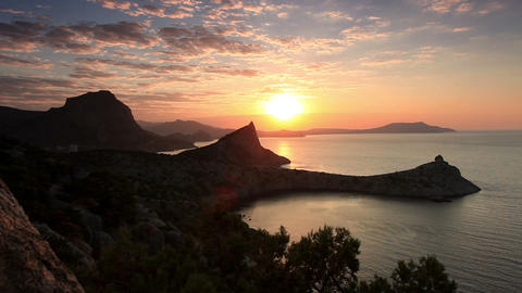 sunrise in the mountains. Noviy Svet, Crimea, Ukra Stock Video Footage