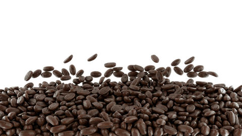 Roasted Coffee Beans Mixing With Slow Motion. Alph stock footage