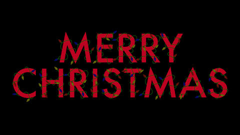 Merry Christmas Lights (Red) Stock Video Footage