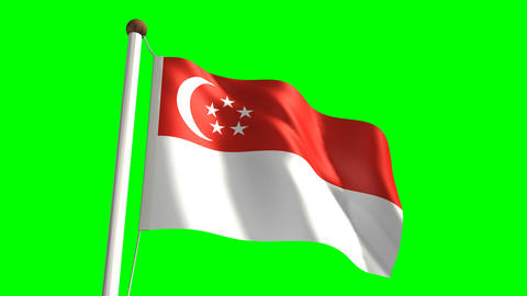 Singapore flag Stock Video Footage