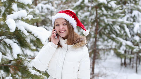 Cheerful Woman Talking on the Phone in the Bell Sa Stock Video Footage