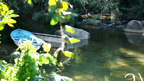 Boats on a Tranquil River Scene Dolly Stock Video Footage