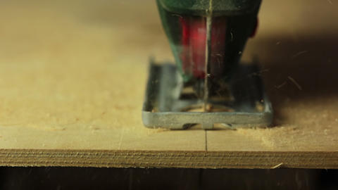 Electric fretsaw. The end of sawing Footage