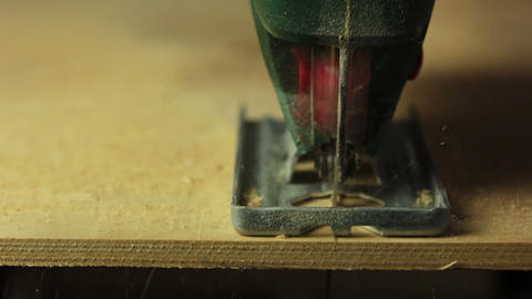 Electric fretsaw. The end of sawing Stock Video Footage