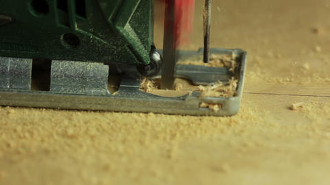 Electric fretsaw. Side view Stock Video Footage
