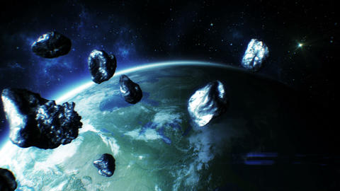 Asteroids fly near Earth. HD 1080 Stock Video Footage