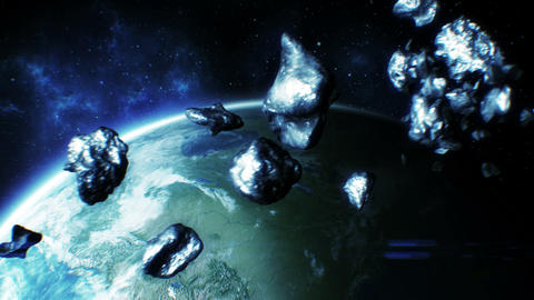 Asteroids fly near Earth. HD 1080 Animation