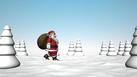 Santa Claus walks through the forest Stock Video Footage