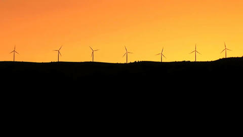 Wind turbines silhouette Footage