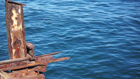 Old Rusty Steel Structure Against Ocean Dolly Stock Video Footage