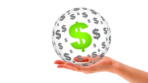 3D dollar Sphere Stock Video Footage