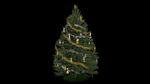 Xmas Tree with Chess Toys - Loop + Alpha Stock Video Footage