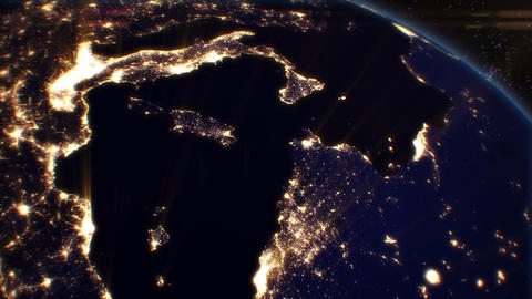 Night Cities from the Satellite. Europe. NASA Phot Animation