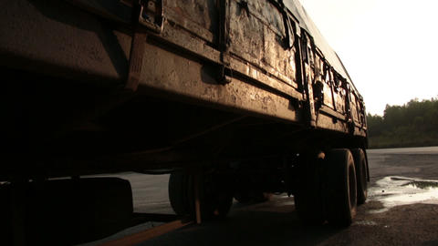 Trailer of the highway Stock Video Footage