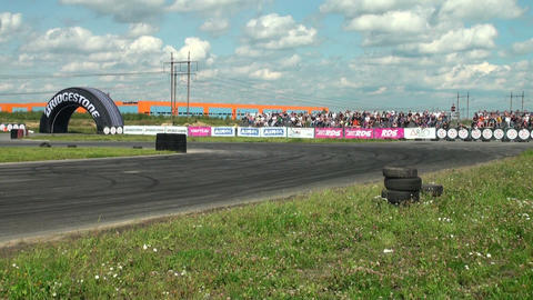 Auto racing. The smoke from under the tires Stock Video Footage