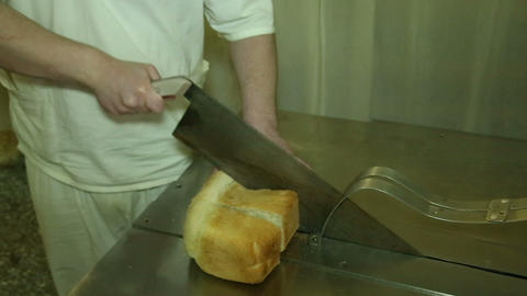 Machine, huge knife for cutting bread Stock Video Footage