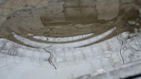 Barbed wire prison is reflected in the puddle Stock Video Footage