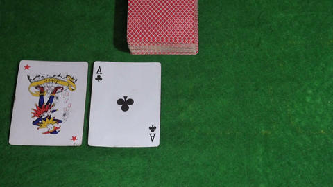 Cards on the green cloth Footage