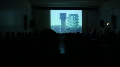 Cinema hall with the audience Stock Video Footage