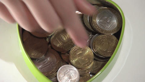 Jewelry box with coins Stock Video Footage