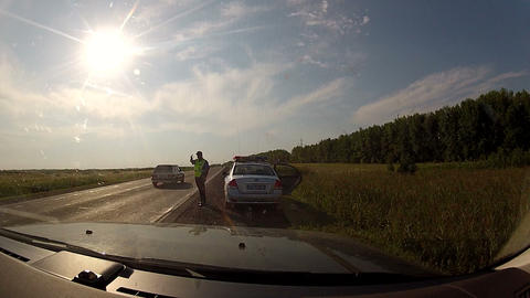 The cops stops the car Stock Video Footage