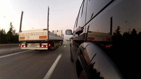 Overtaking trailer on the highway Footage