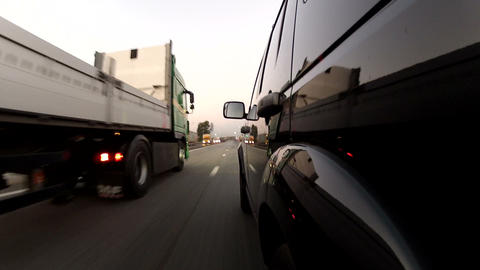 Overtaking trailer on the highway Stock Video Footage
