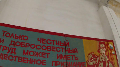 Campaign posters on the wall Stock Video Footage