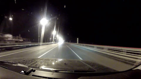 Travel on the night highway Stock Video Footage