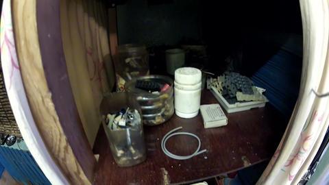 Old radio - workshop Stock Video Footage