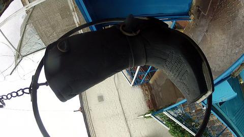 Suspended boots over the door Shoe repair Stock Video Footage
