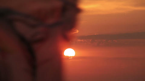 Flag on the background of a rising sun Stock Video Footage