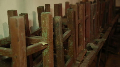 Old dirty stools Stock Video Footage