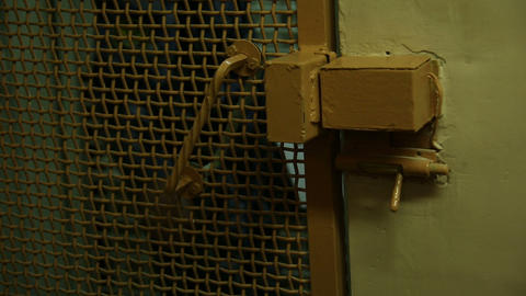 The prison door with a lock Stock Video Footage